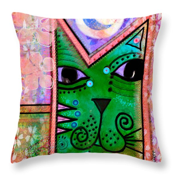 House of Cats series - Moon Cat Throw Pillow by Moon Stumpp