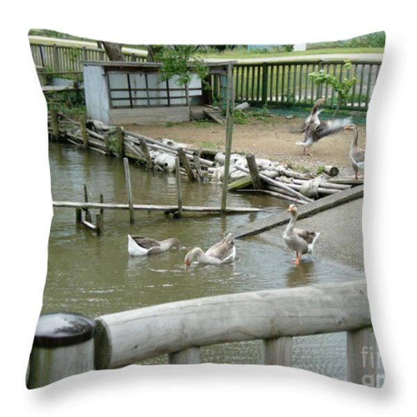 Japanese Geese Throw Pillow by Evgeny Pisarev