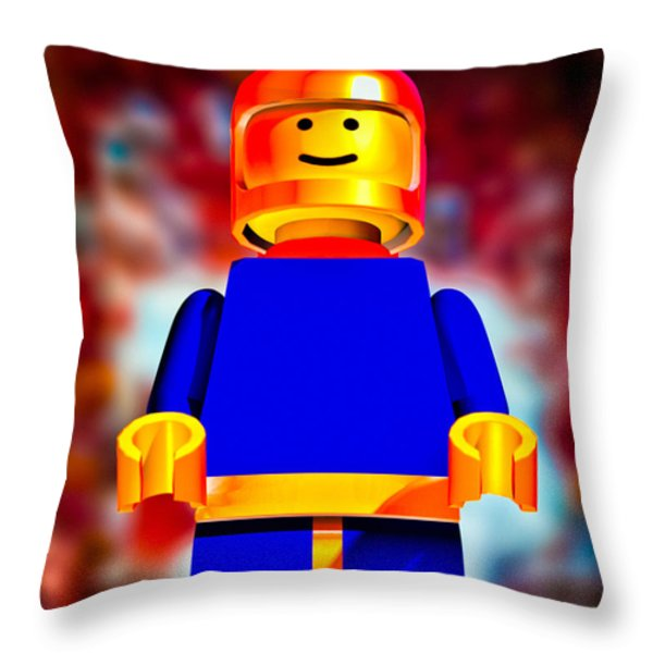 Lego Spaceman Throw Pillow by Bob Orsillo