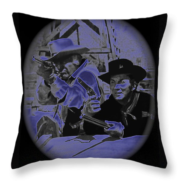 Leif Erickson and Cameron Mitchell  The High Chaparral Old Tucson Arizona 1969 Throw Pillow by David Lee Guss
