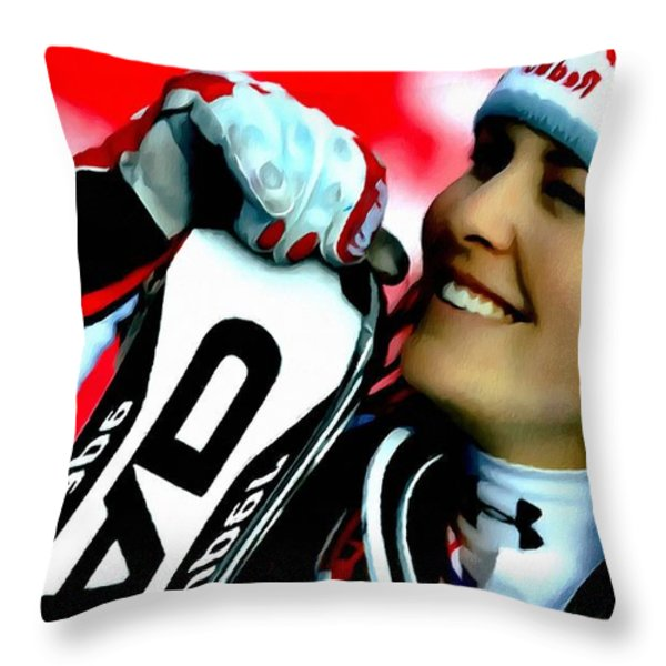 Lindsey Vonn Skiing Throw Pillow by Lanjee Chee