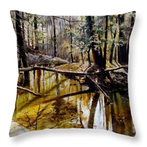Lubianka-2-river Throw Pillow by Henryk Gorecki