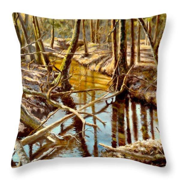 Lubianka-3-river Throw Pillow by Henryk Gorecki