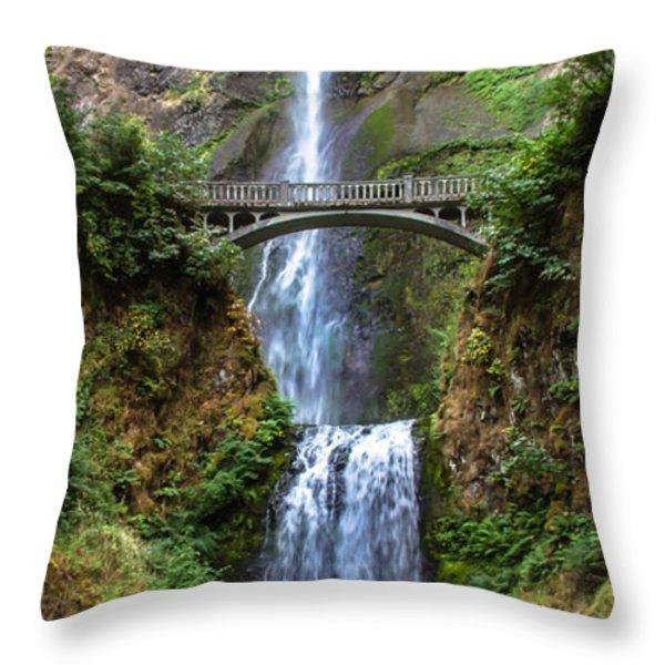 Multnomah Falls Throw Pillow by Robert Bales