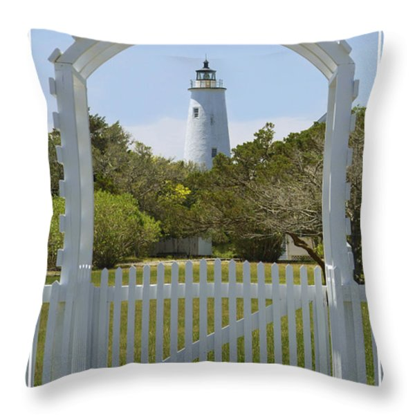 Ocracoke Island Lighthouse Throw Pillow by Mike McGlothlen