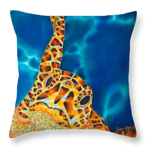 Sea Turtle Throw Pillow by Daniel Jean-Baptiste