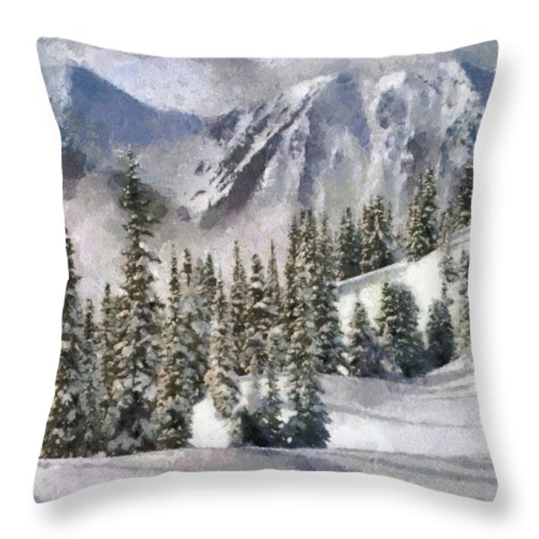 Snow In The Mountains Throw Pillow by Georgi Dimitrov