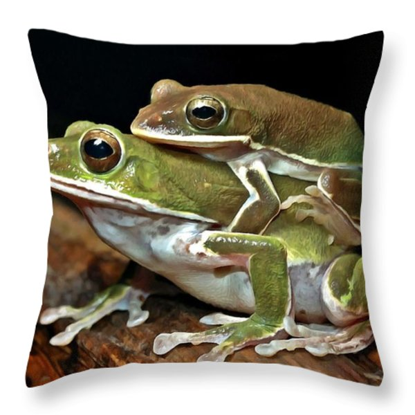 Tree Frog Throw Pillow by Lanjee Chee