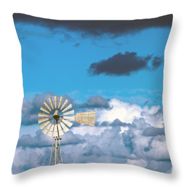 water windmill Throw Pillow by Stylianos Kleanthous