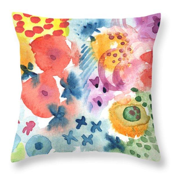 Watercolor Garden Throw Pillow by Linda Woods
