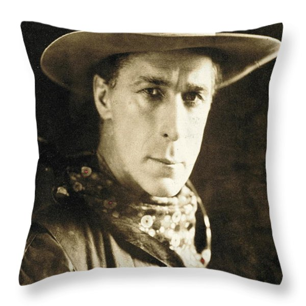 William S. Hart Portrait C.1918 Nelson Miles Photographer Virginia City Montana 1971 Throw Pillow by David Lee Guss