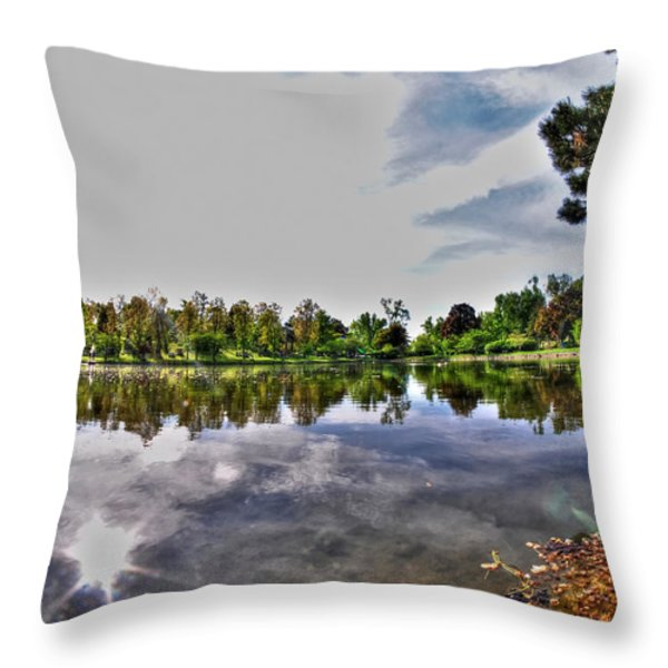 002 Reflecting At Forest Lawn Throw Pillow by Michael Frank Jr