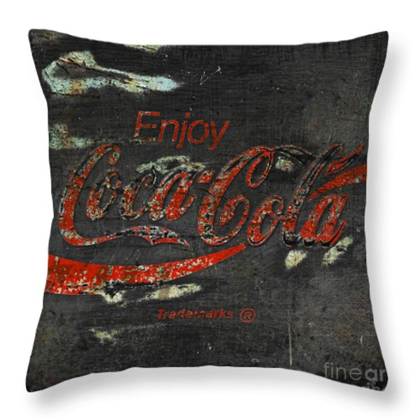 Coca Cola Sign Grungy Throw Pillow by John Stephens