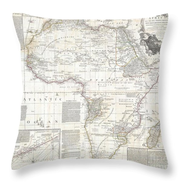 1794 Boulton And Anville Wall Map Of Africa Throw Pillow by Paul Fearn