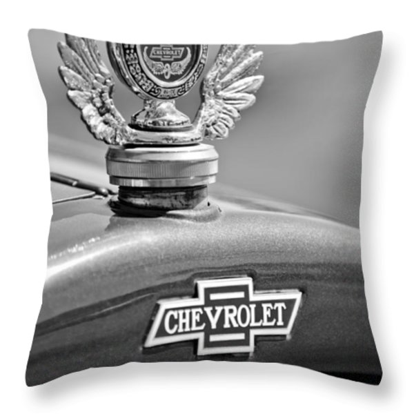 1928 Chevrolet Stake Bed Pickup Hood Ornament Throw Pillow by Jill Reger