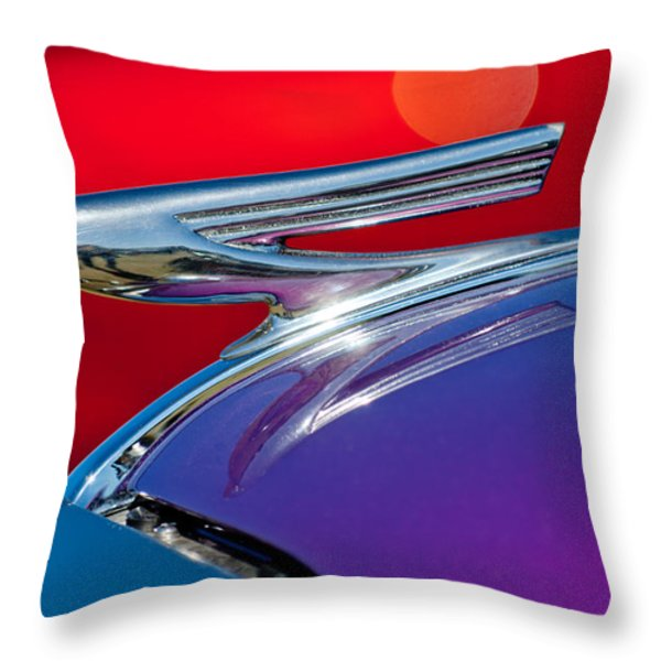 1937 Chevrolet Hood Ornament Throw Pillow by Jill Reger