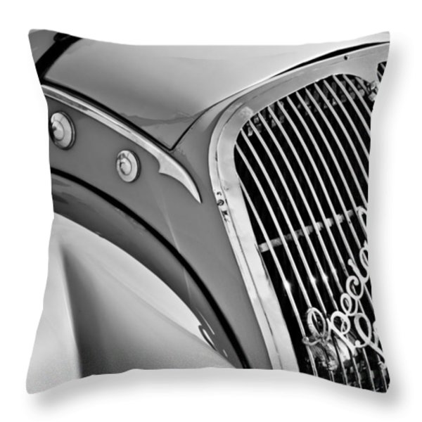 1937 Peugeot 402 Darl'mat Legere Special Sport Roadster Recreation Grille Emblem Throw Pillow by Jill Reger