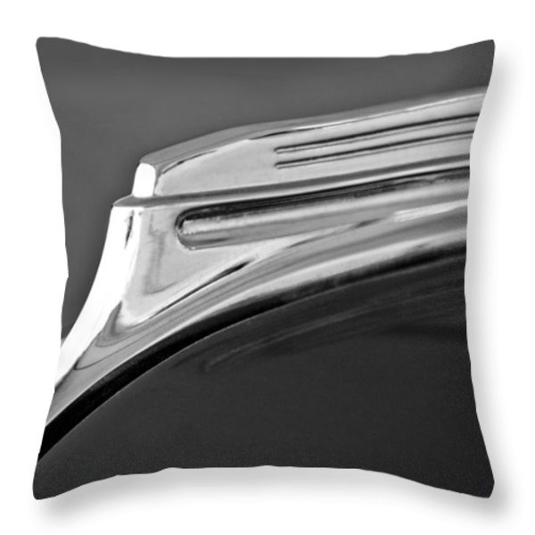 1938 Oldsmobile RJ8 Club Coupe Hood Ornament Throw Pillow by Jill Reger