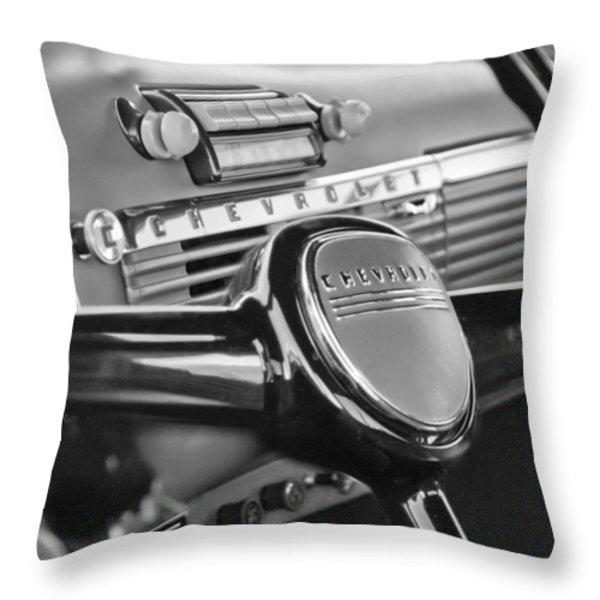 1950 Chevrolet 3100 Pickup Truck Steering Wheel Throw Pillow by Jill Reger
