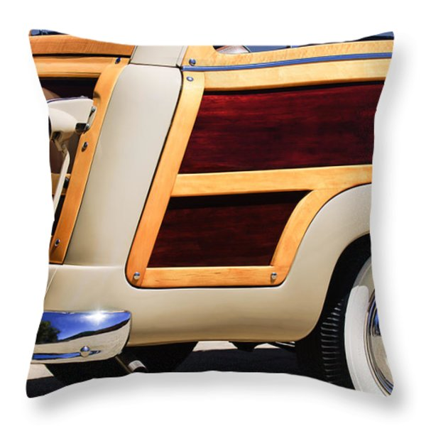 1950 Ford Custom Deluxe Station Wagon Rear End - Woodie Throw Pillow by Jill Reger