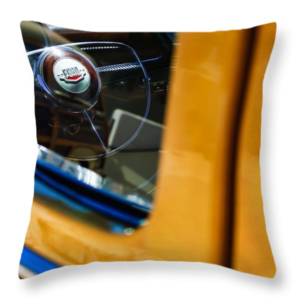 1950 Ford Custom Deluxe Woodie Station Wagon Steering Wheel Emblem Throw Pillow by Jill Reger