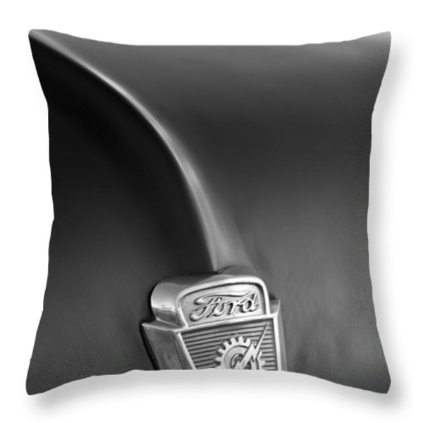 1953 Ford F100 Pickup Truck Hood Emblem Throw Pillow by Jill Reger