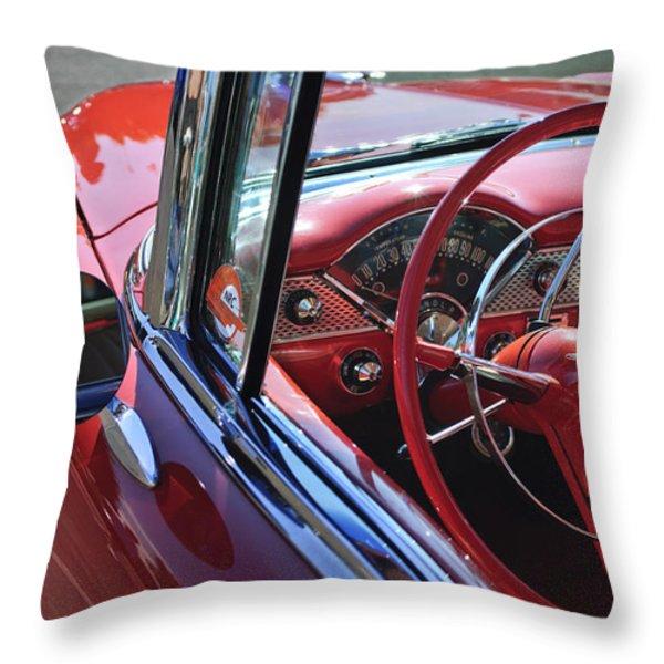 1955 Chevrolet Belair Steering Wheel Throw Pillow by Jill Reger