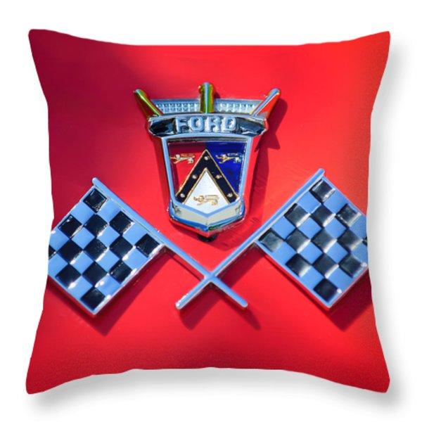 1955 Ford Thunderbird Emblem Throw Pillow by Jill Reger