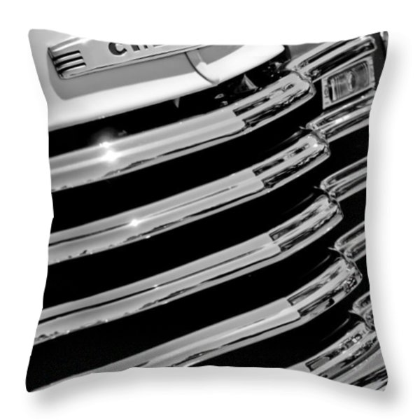 1956 Chevrolet 3100 Pickup Truck Grille Emblem Throw Pillow by Jill Reger