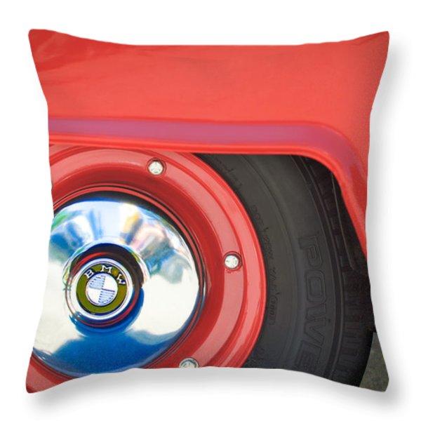 1958 Bmw Isetta 300 Wheel Emblem Throw Pillow by Jill Reger