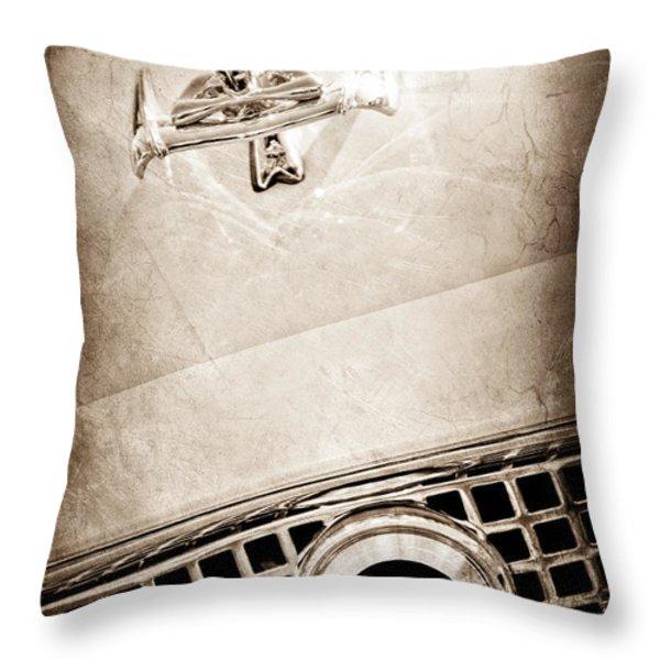 1960 Nash Metropolitan Hood Ornament - Grille Emblem Throw Pillow by Jill Reger