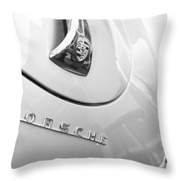 1960 Porsche 356 B 1600 Super Roadster Hood Emblem Throw Pillow by Jill Reger