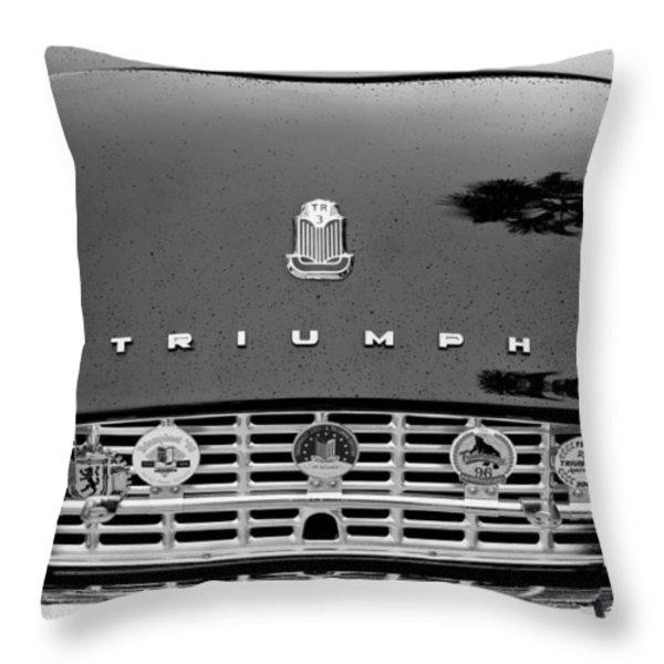 1960 Triumph TR 3 Grille Emblems Throw Pillow by Jill Reger