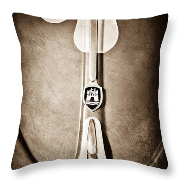1960 Volkswagen VW Hood Emblem Throw Pillow by Jill Reger