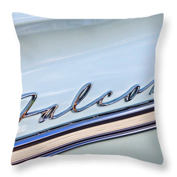 1963 Ford Falcon Futura Convertible  Emblem Throw Pillow by Jill Reger