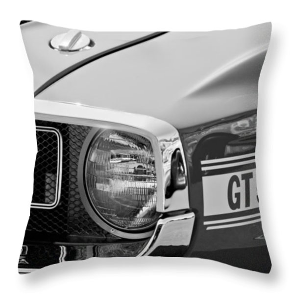 1969 Shelby GT500 Convertible 428 Cobra Jet Grille Emblem Throw Pillow by Jill Reger