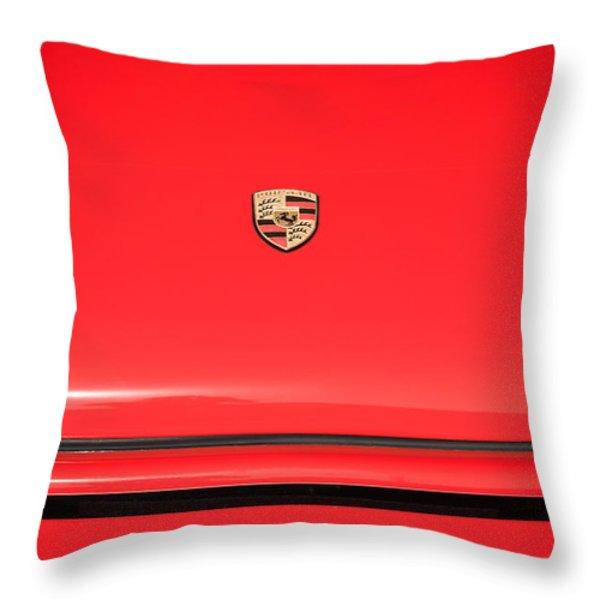 1971 Porsche 911 T Hood Emblem Throw Pillow by Jill Reger