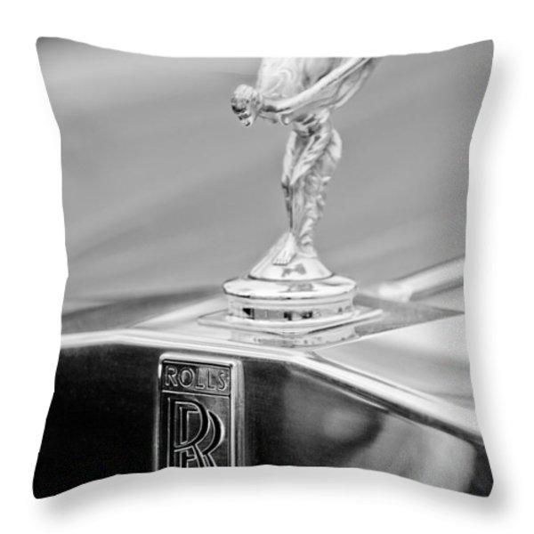 1984 Rolls-royce Silver Spur Hood Ornament Throw Pillow by Jill Reger