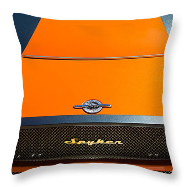 2009 Spyker C8 Laviolette Lm85 Grille Emblem Throw Pillow by Jill Reger