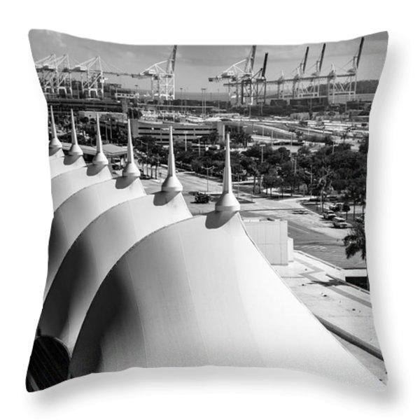 Port Of Miami Cruise Ship Terminal Miami Florida Throw Pillow by Rene Triay Photography