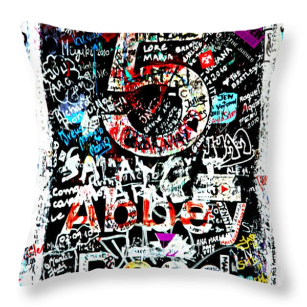 Abbey Road Graffiti Throw Pillow by Stephen Stookey