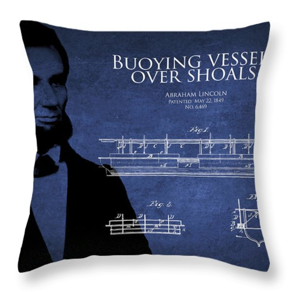 Abraham Lincoln Patent from 1849 Throw Pillow by Aged Pixel