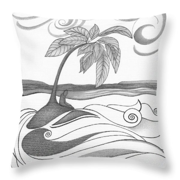 Abstract Art Tropical Black And White Drawing Who Am I To Disagree By Romi Throw Pillow by Megan Duncanson