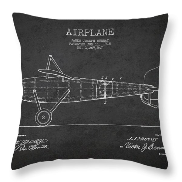 Airplane Patent Drawing From 1918 Throw Pillow by Aged Pixel