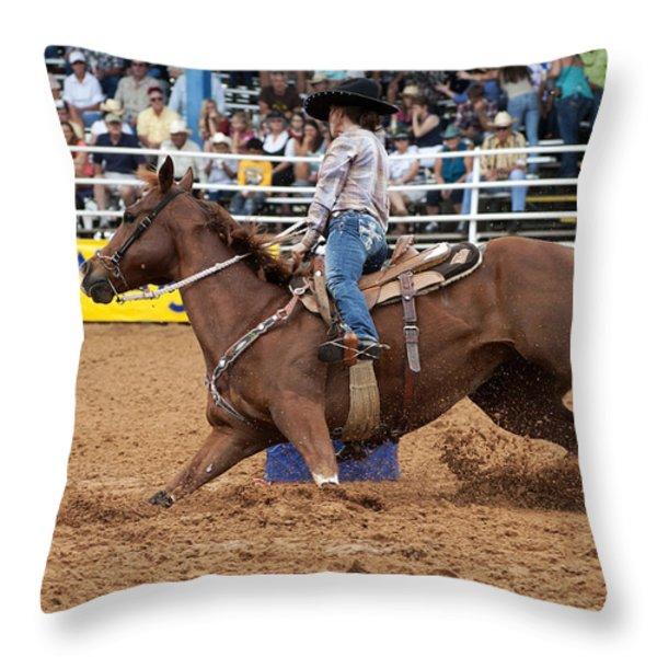 American Rodeo Female Barrel Racer White Blaze Chestnut Horse II Throw Pillow by Sally Rockefeller