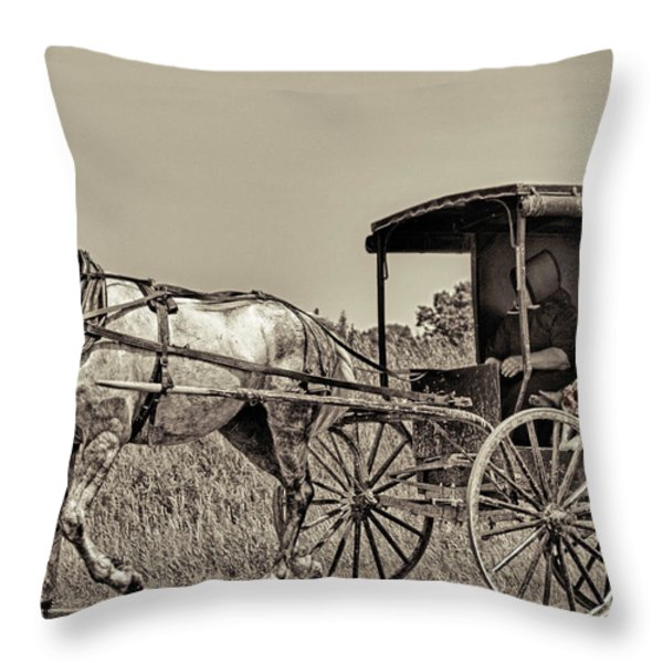 Amish Boy Tips Hat Throw Pillow by Robert Frederick