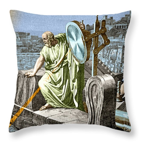 Archimedes Heat Ray Siege Of Syracuse Throw Pillow by Science Source