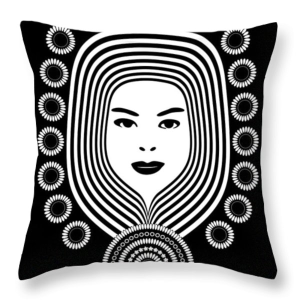 Art Nouveau Woman Throw Pillow by Frank Tschakert