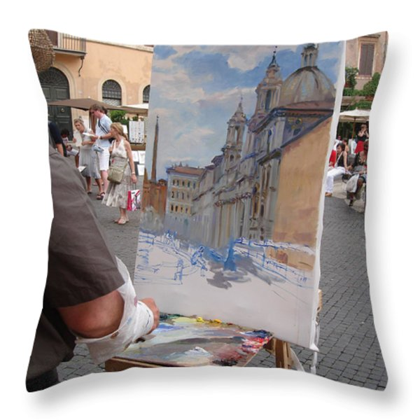 Artist At Work Rome Throw Pillow by Ylli Haruni