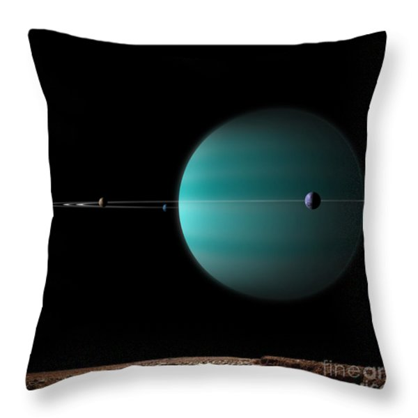 Artists Depiction Of A Ringed Gas Giant Throw Pillow by Marc Ward